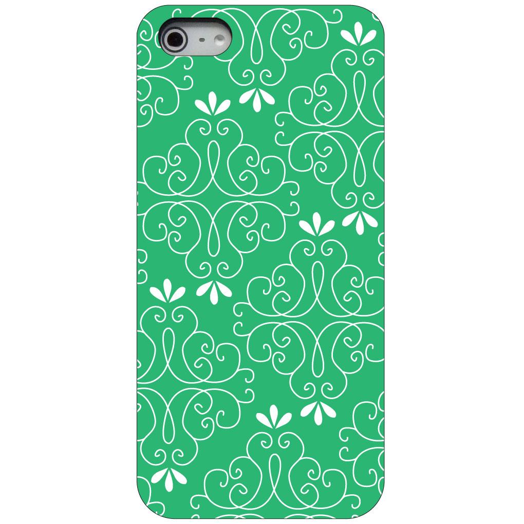 CUSTOM Black Hard Plastic Snap-On Case for Apple iPhone 5 / 5S / SE - Light Green White Floral