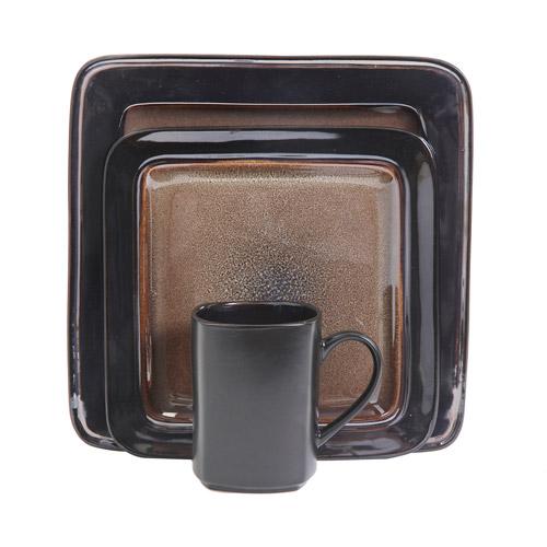 Gibson Terroni 16-Piece Metallic Reactive Dinnerware Set, Brown