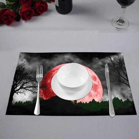 YUSDECOR Cool Wolf Howling at Red Moon Placemats Table Mats for Dining Room Kitchen Table Decoration 12x18 inch,Set of 4 - image 2 of 4