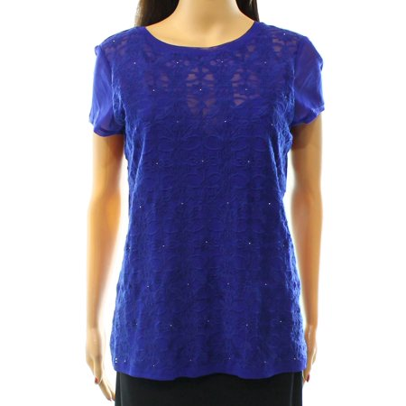 inc new blue goddess women's size large l embroidered mesh blouse (Goddess Clothing)