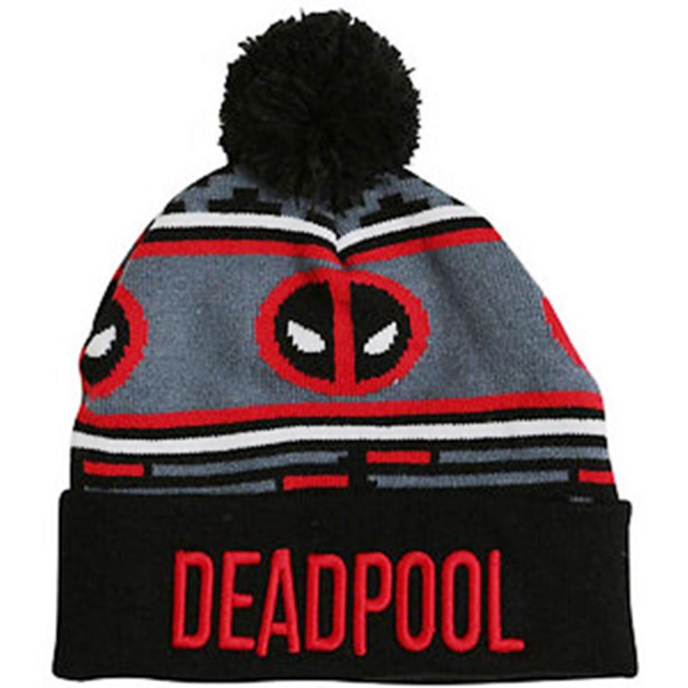ad517318324 ... shop marvel deadpool pom beanie cuffed hat black red junior unisex one  size 8cb3a 6b248