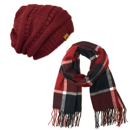 Wrapables® Plaid Print Long Scarf and Beanie Hat Set, Navy and Wine