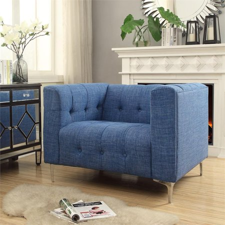Thomas Navy Blue Linen Club Chair - Metal Y-Legs - Button Tufted