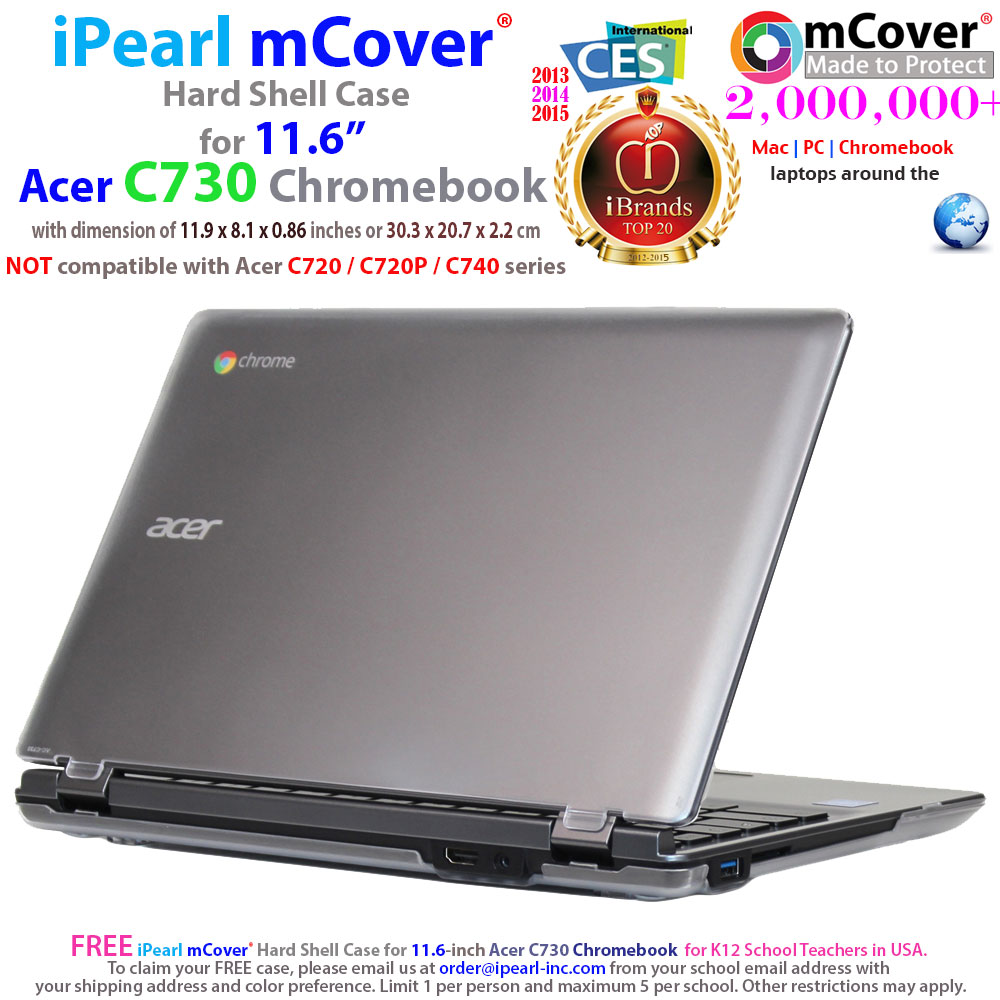 "iPearl mCover Hard Shell Case for 11.6"" Acer C730 series ChromeBook Laptop"