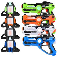 Set of 4 Laser Tag Guns Set w/ Vests LED Target Armor 4 Player Kids and Adults