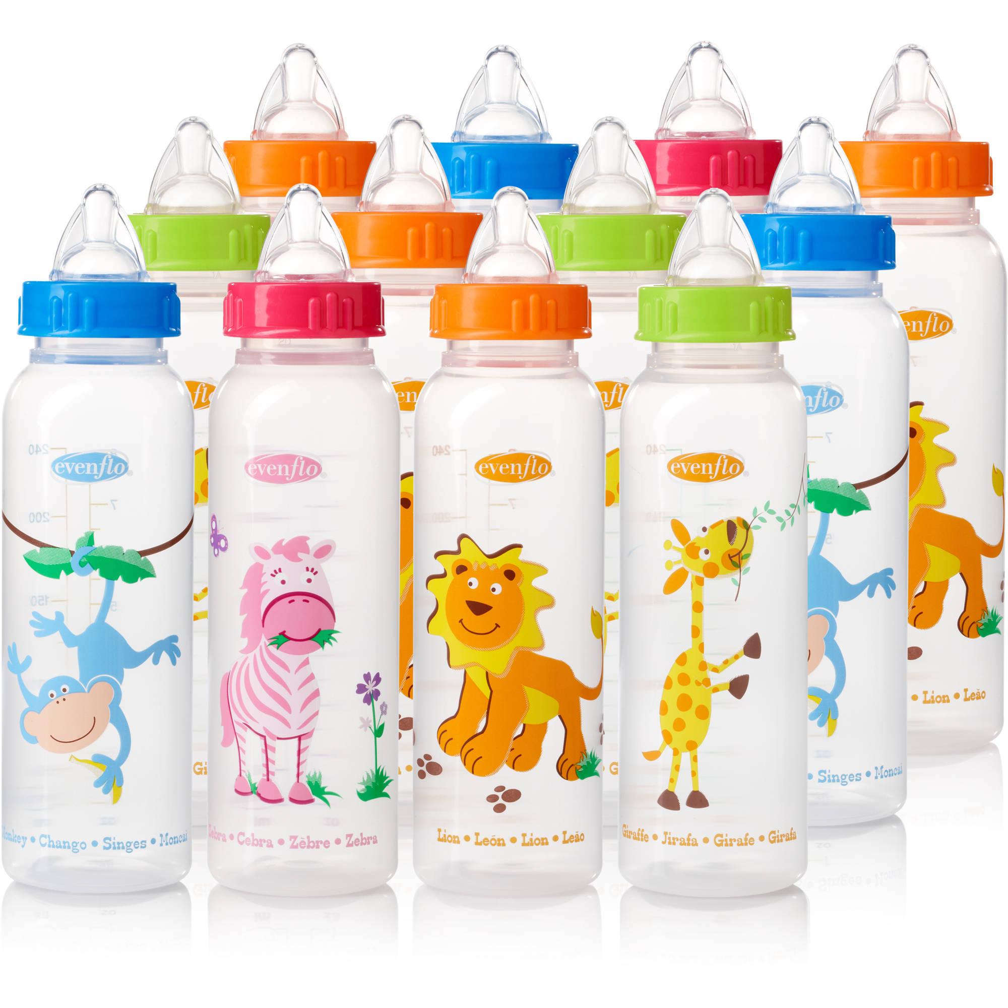 Evenflo Zoo Friends Anatomic 8oz Bottle, 12-Pack, BPA-Free