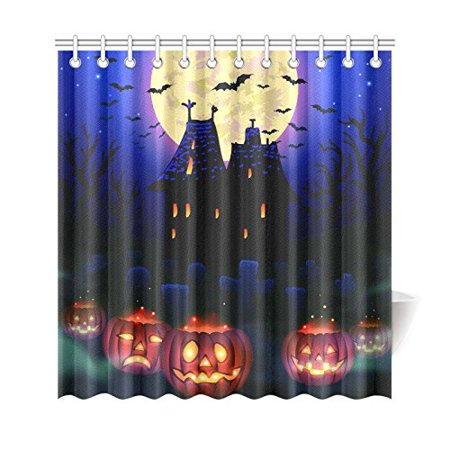 GCKG Haunted Castle House Shower Curtain, Happy Halloween Pumpkin Polyester Fabric Shower Curtain Bathroom Sets with Hooks 66x72 Inches - image 3 of 3