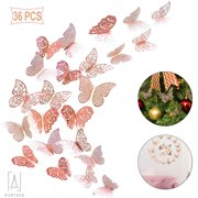 GustaveDeisng 36PCS 3D Butterfly Wall Stickers,Removable Mural Metallic Paper Hollow-Out Butterfly Wall decor for DIY Home Nursery Party Christmas (Rose Gold)