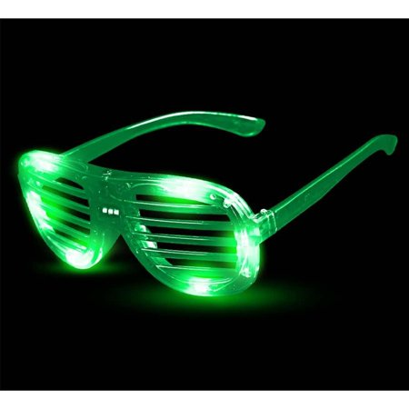 I463 LED Light Up Slotted Shades - Green, These Kanye West style shutter sunglasses are one of our coolest and most popular items! These eye glasses feature 6.., By Fun (Shaded Eye Glasses)