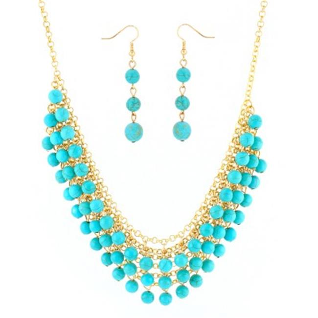 C Jewelry Gold-Tone Turquoise Beads Necklace And Earrings Set