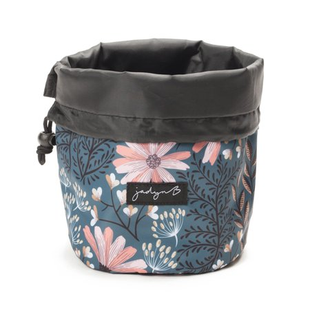 Jadyn B Cinch Top Compact Travel Makeup Bag and Cosmetic Organizer for Women (Navy Floral)