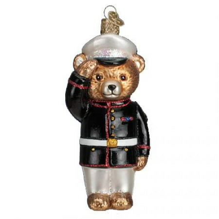 Old World Christmas - Marine Bear Ornament - Hand Painted Blown Glass - For Fake and Real Trees - Makes a Great Gift - Sempre Fi! - Hand Blown Glass Christmas Ornaments