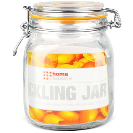 Home Basics Glass Pickeling Jar with Lid (Small Glass Cookie Jars With Lids)