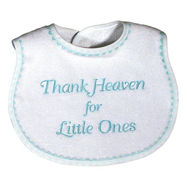 Raindrops 6555A Raindrops -Thank Heaven for Little Ones- Embroidered Bib, Aqua