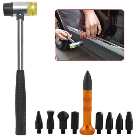 Import Auto Service Repair (Paintless Dent Repair Removal Tools Tap Down Kits w/ Rubber Hammer for Car Auto Body Dent Hail Damage)
