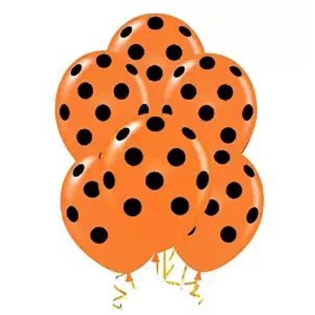 Halloween Polka Dot Balloons 11in Premium Orange with All-Over print Black Dots - Halloween Balloons Australia