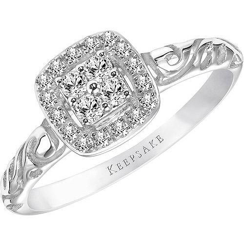 Keepsake Ella 1/5 Carat T.W. Oval Diamond 10kt White Gold Engagement Ring