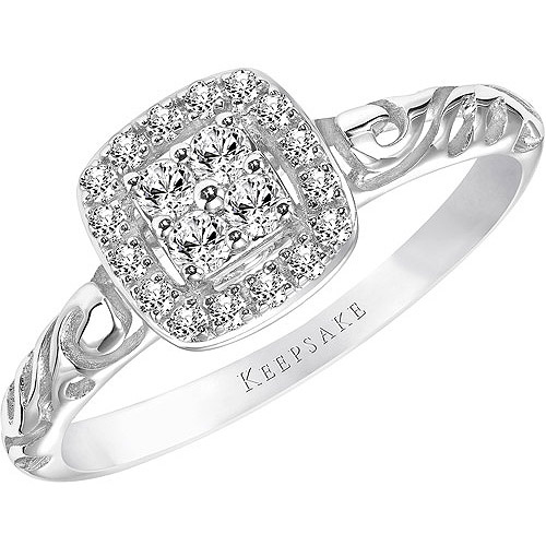 Keepsake Ella 1/5 Carat T.W. Oval Diamond 10kt White Gold Engagement Ring