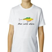 Fishing Man with Allure - A Lure - Funny Pun Boy's Cotton Youth T-Shirt