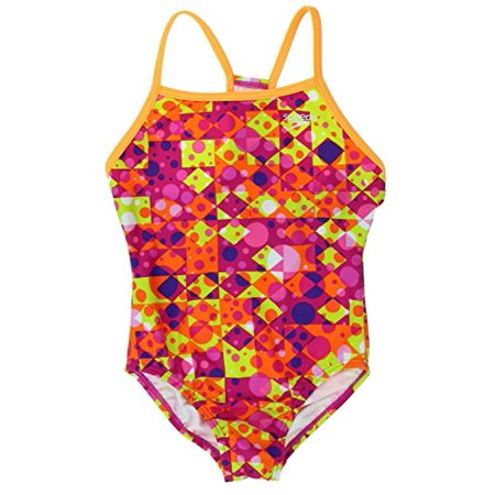- Speedo Girls Thin Strap One Piece Swimsuit Diamond Dot Size 10 Pink