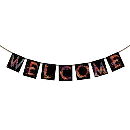 YKCG Welcome Banner Bunting for Family Party Decoration Photo Props, Watercolor Words and Black Background Spray color Banner Garland Flag](Banner World)