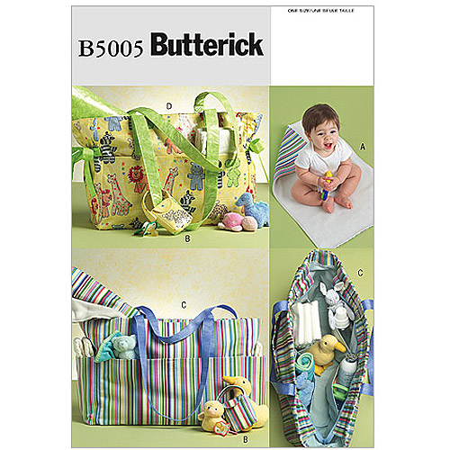 Butterick Pattern Diaper Bag, Changing Pad and Pacifier Case, One Size
