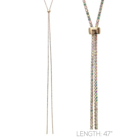 - Womens Very Thin Single Layer Rhinestone Long Y-Necklace 16013-Gold/AB