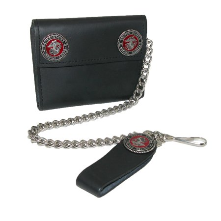 CTM Men's Leather Chain Wallet with Marine Decals - image 4 of 4