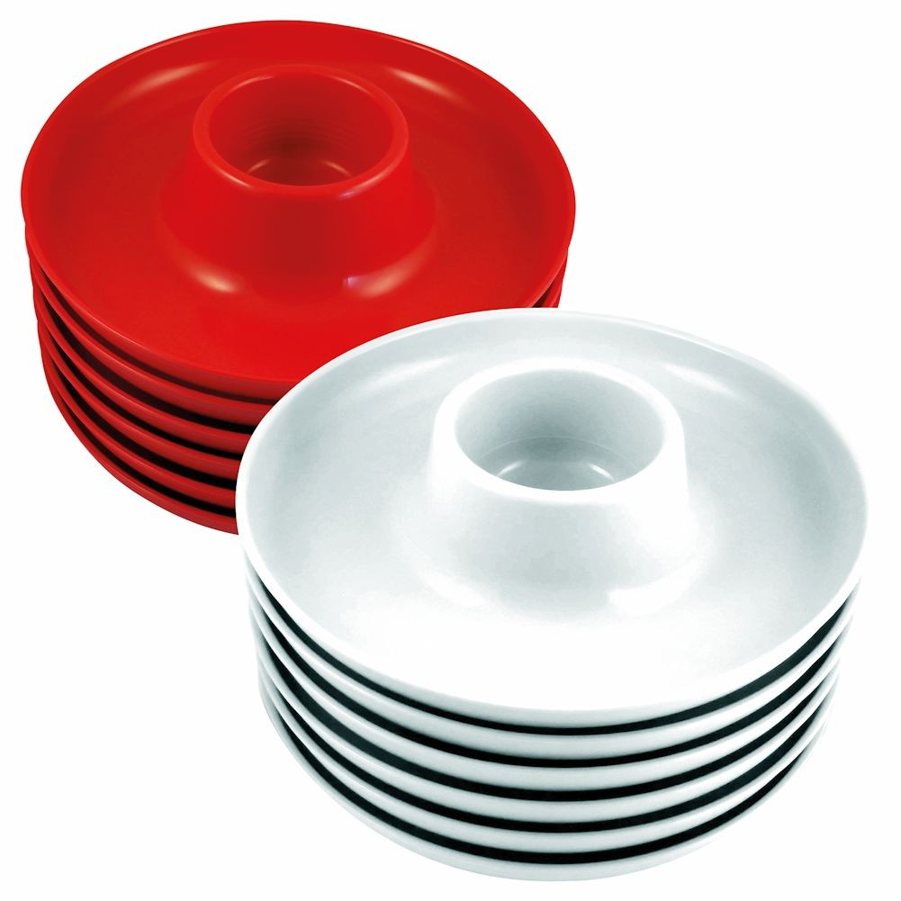 The Great Plate - Party Plate With Built In Cup Holder - Set Of 12 - 6 Red And 6 White