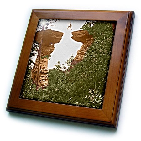 3dRose Vintage 1899 Wisconsin Dells Stand Rock - Framed Tile, 6 by 6-inch