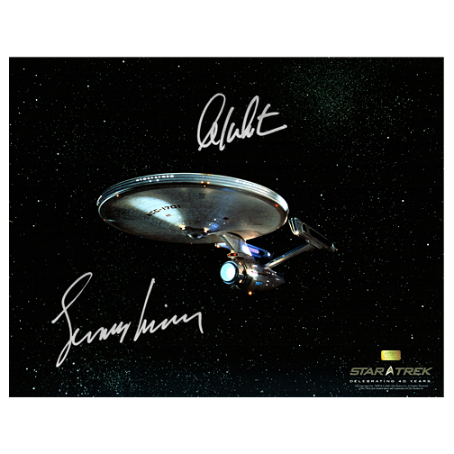William Shatner and Leonard Nimoy Autographed Star Trek 11x14 USS Enterprise Photo