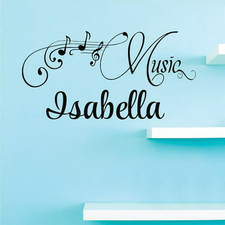 Personalized Name Vinyl Decal Sticker Custom Initial Wall Art Personalization Decor Sticker Music Notes Teen Bedroom Boy Girl Musical Mural 10 Inches X 18 Inches