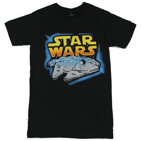 Airbrushed Clothing - Star Wars Mens T-Shirt - Airbrushed Styled Colorful Millennium Falcon Image