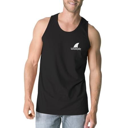 Mini Shark Mens Black Graphic Summer Tanks Round Neck Line