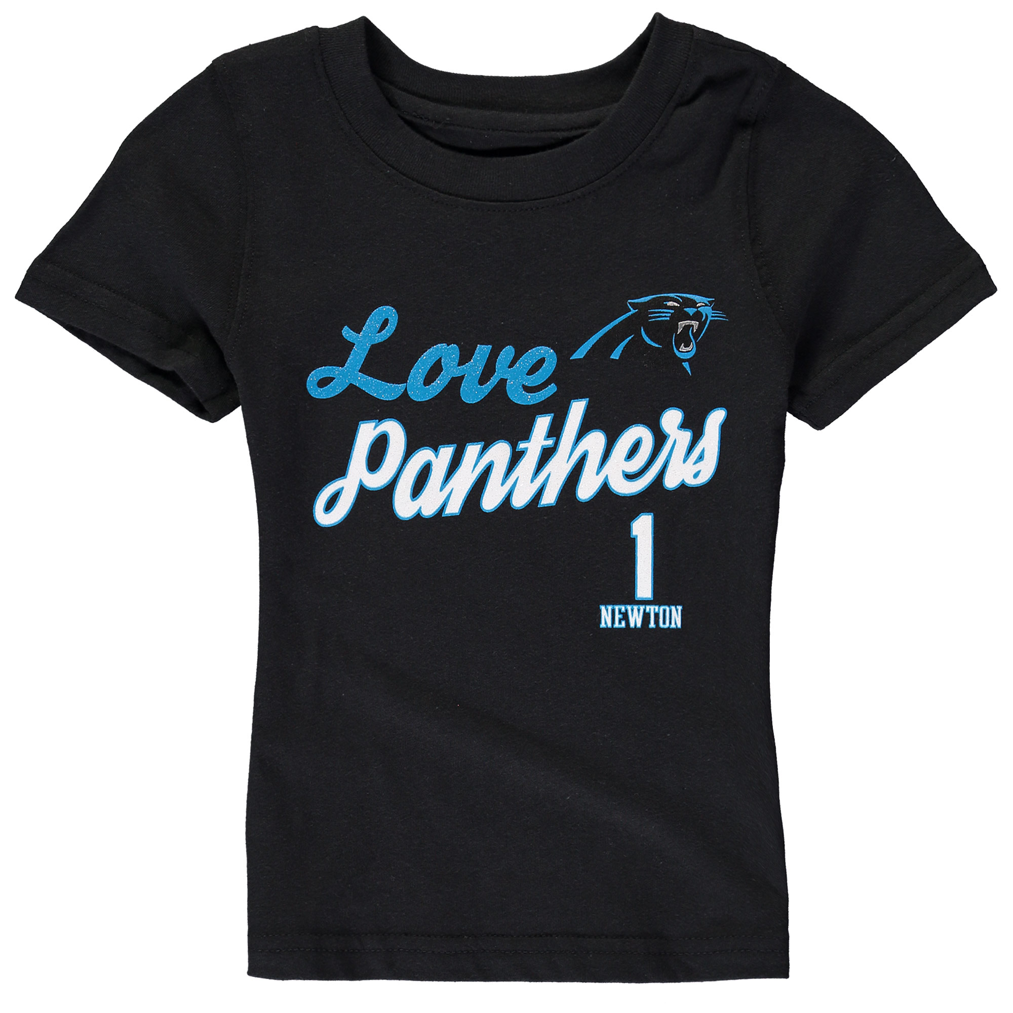 Cam Newton Carolina Panthers Girls Youth Glitter Live Love Team Player Name & Number T-Shirt - Black