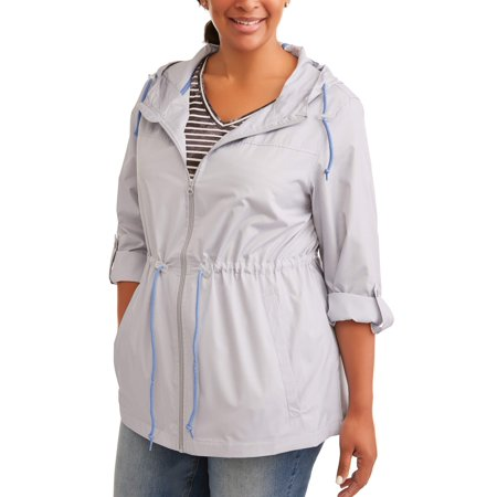 WEATHER TAMER Women's Plus-Size Hooded Packable Anorak--Zips Up Into A Small Pouch