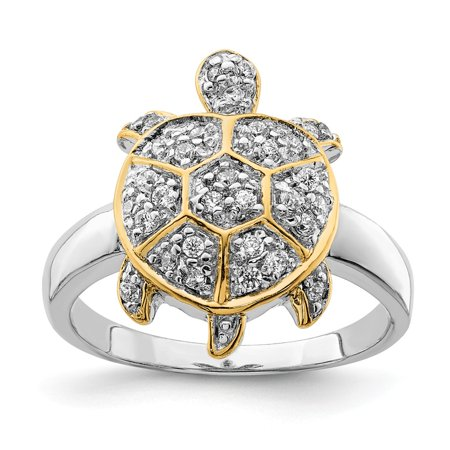 Roy Rose Jewelry Sterling Silver Center CZ and Flash Gold-Plated Turtle Ring