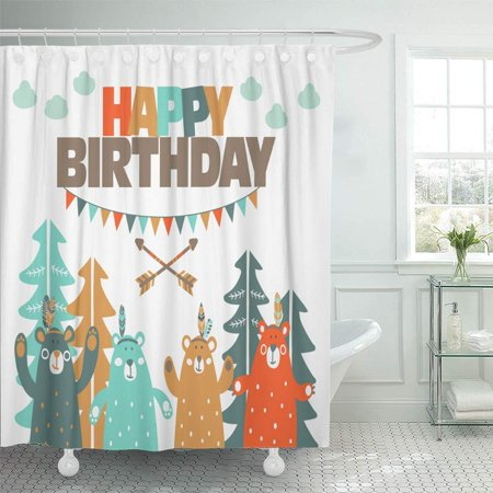 BSDHOME Happy Birthday Lovely with Funny Bears in Forest and Garlands Ideal Bathroom Shower Curtains 60x72 inch - image 1 of 1