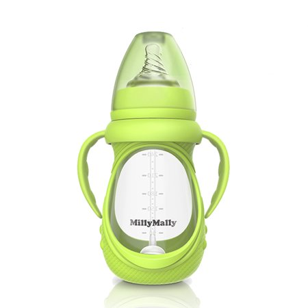 Baby Glass Bottle Anti Colic Wide Neck With Detachable Handle Feeding Bottle For Newborn Infant Toddler BPA Free Green