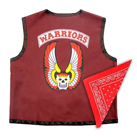 The Warriors Gang Costume Leather Vest Jacket and Bandana - Male Warrior Costume
