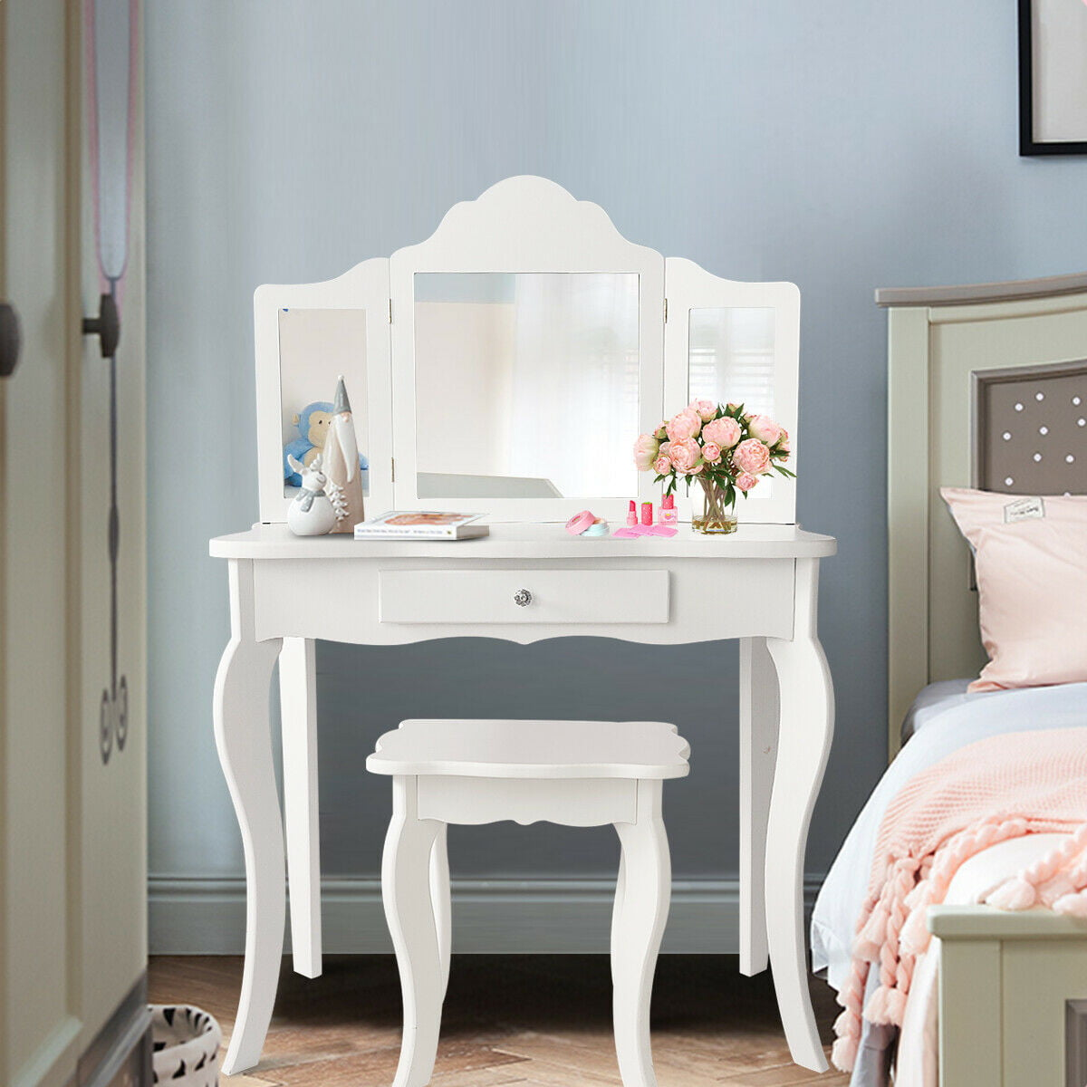 Costway Vanity Table Set Makeup Dressing Table Kids Girls Stool Mirror Walmart Com Walmart Com