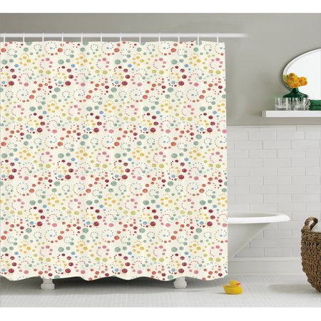 Abstract Shower Curtain, Traditional Polka Dots with Colorful Summer Vibes Retro Look Vibrant Swirl Designs, Fabric Bathroom Set with Hooks, 69W X 84L Inches Extra Long, Multicolor, by Ambesonne