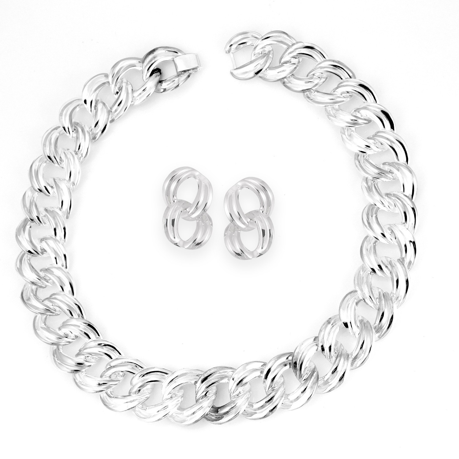 TAZZA WOMEN'S SILVER METAL DOUBLE CIRCLE LINK EARRINGS AND STATEMENT NECKLACES