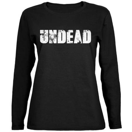 Halloween Undead Black Womens Long Sleeve T-Shirt - Women's Halloween T Shirts