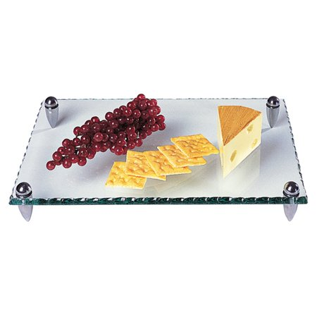 Badash Mercury Rectangle 14 in. Glass Tray with Hammered Edge ()