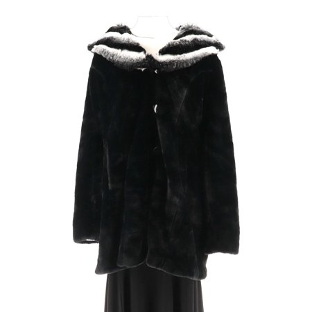 Dennis Basso Faux Fur Coat Removable Hood Collar (Black Wool Coat With Faux Fur Collar)