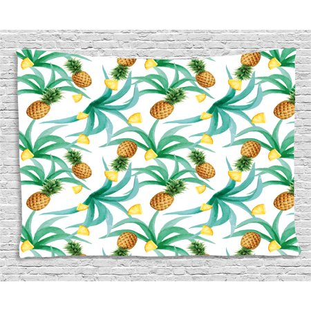 Hawaii Tapestry, Botany Inspired Traditional Luau Party Funky Polynesian Culture, Wall Hanging for Bedroom Living Room Dorm Decor, 60W X 40L Inches, Jade Green Marigold Ginger, by Ambesonne (Traditional Hawaiian Party)