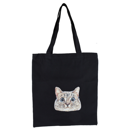 Lux Accessories Black Canvas Silly Funny Kitty Cat Print Shoulder Tote Bag ()