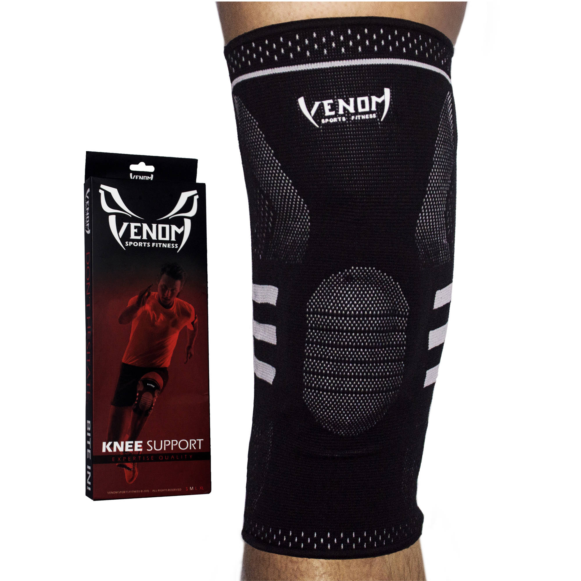 Venom Sports Fitness Knee Sleeve Gel Padded Support with Closed Patella