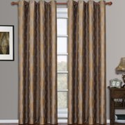 Savanna Pair Jacquard Grommet Geometric Patterned Window Curtain Panels (Set of 2)
